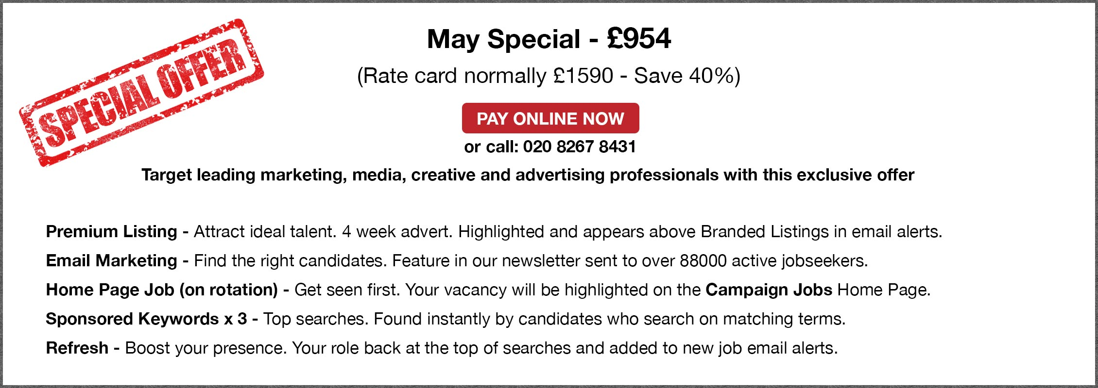 Special Offer. May Special - £954.