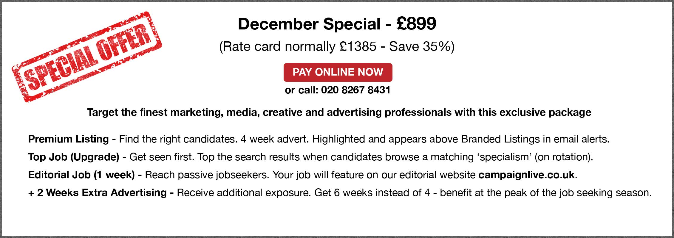 Special Offer. December Special - £899.